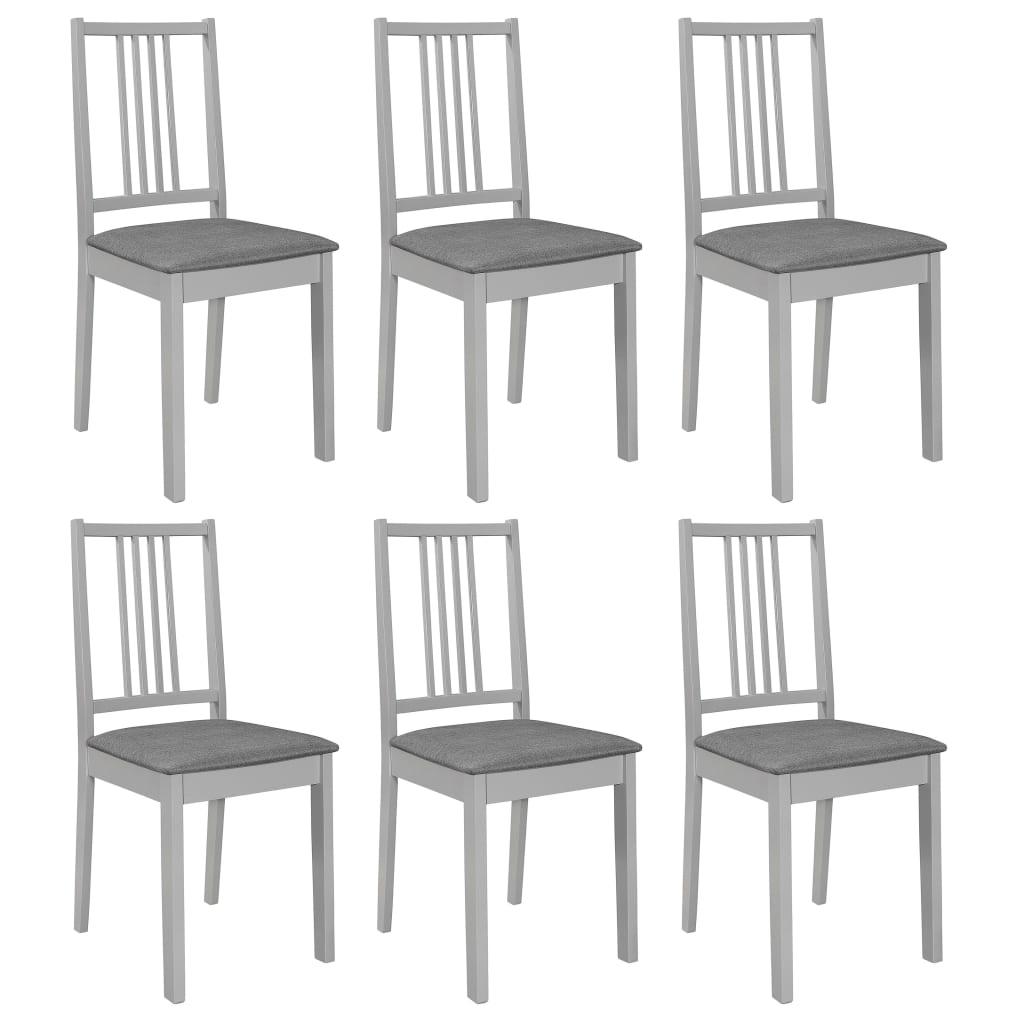 vidaXL Καρέκλες Τραπεζαρίας με Μαξιλάρια 6 τεμ. Γκρι από Μασίφ Ξύλο