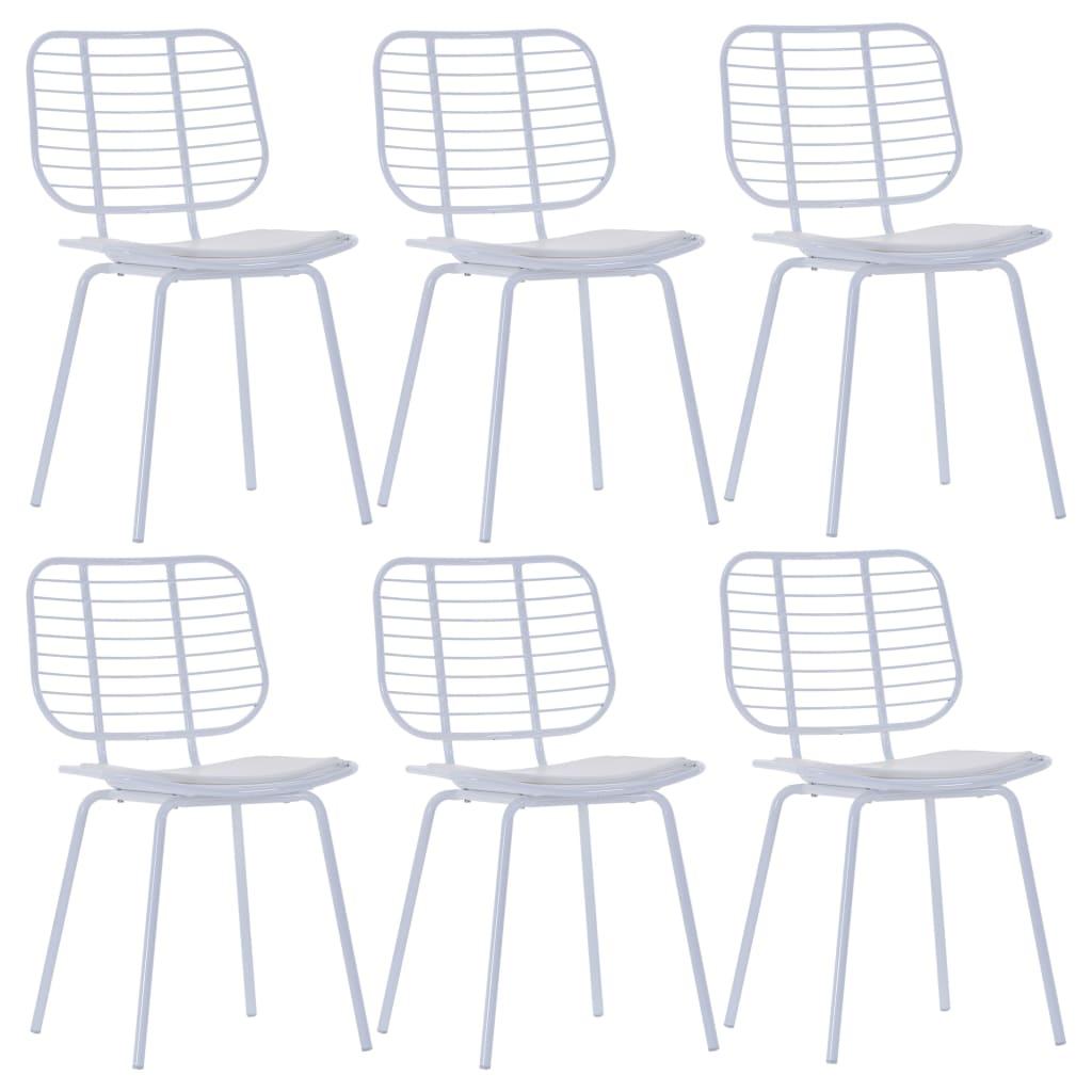 vidaXL Καρέκλες Τραπεζαρίας 6 τεμ. Λευκές Ατσάλι/Κάθισμα Δερματίνης