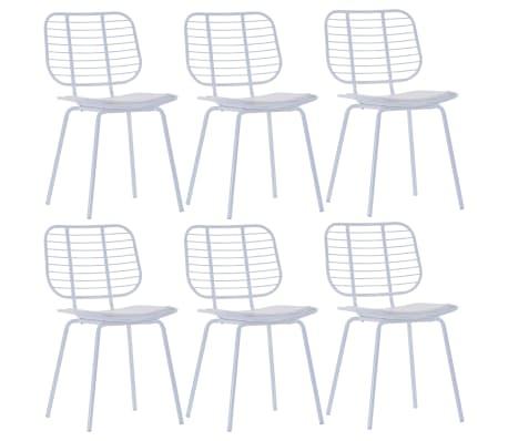 vidaXL Jídelní židle se sedáky z umělé kůže 6 ks bílé ocelové