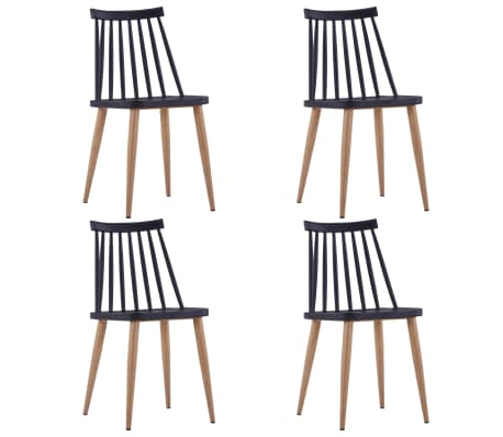 vidaXL Dining Chairs 4 pcs Black Plastic