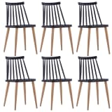 vidaXL Valgomojo kėdės, 6 vnt., juodos spalvos, plastikas (3x247285)