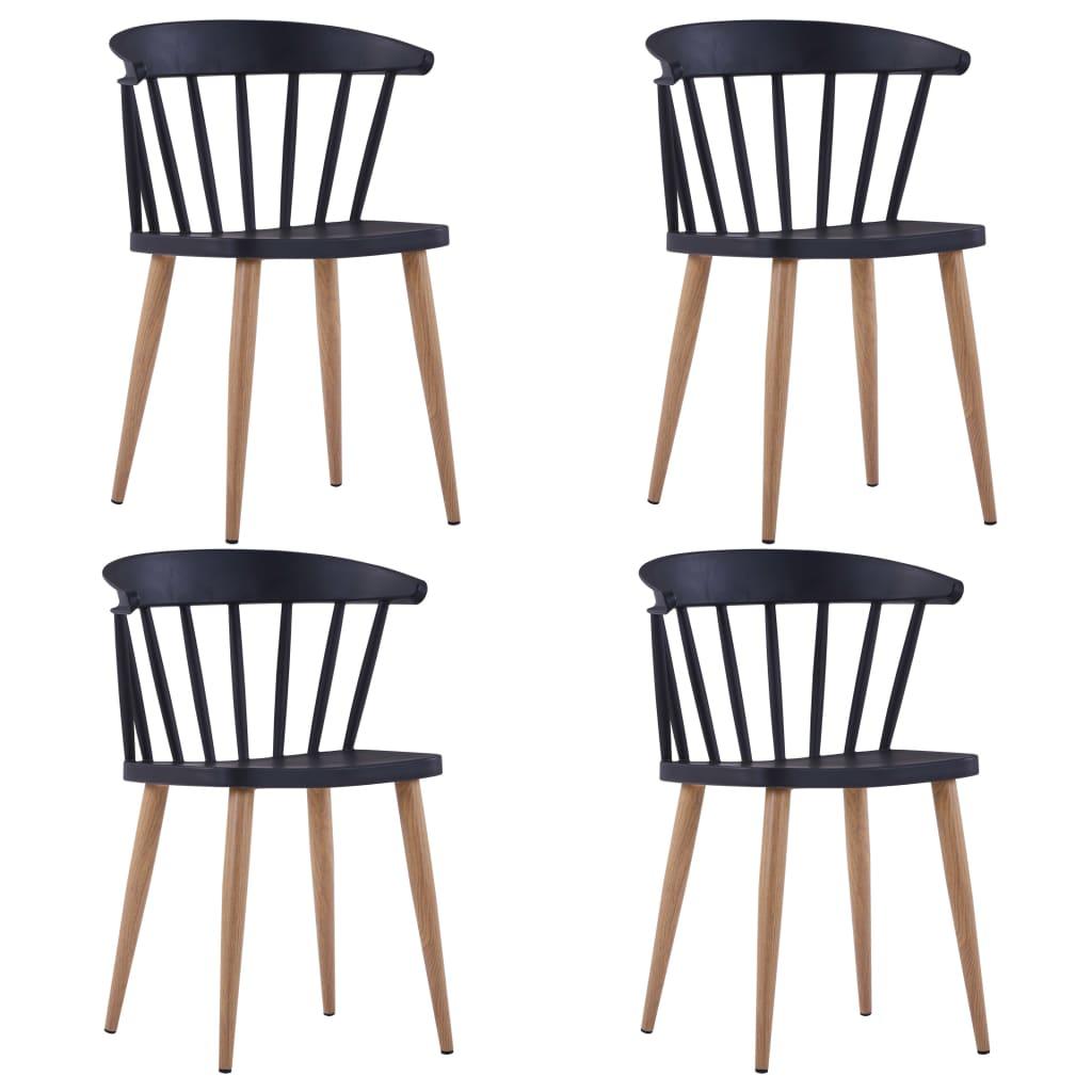 vidaXL Καρέκλες Τραπεζαρίας 4 τεμ. Μαύρες Πλαστικές