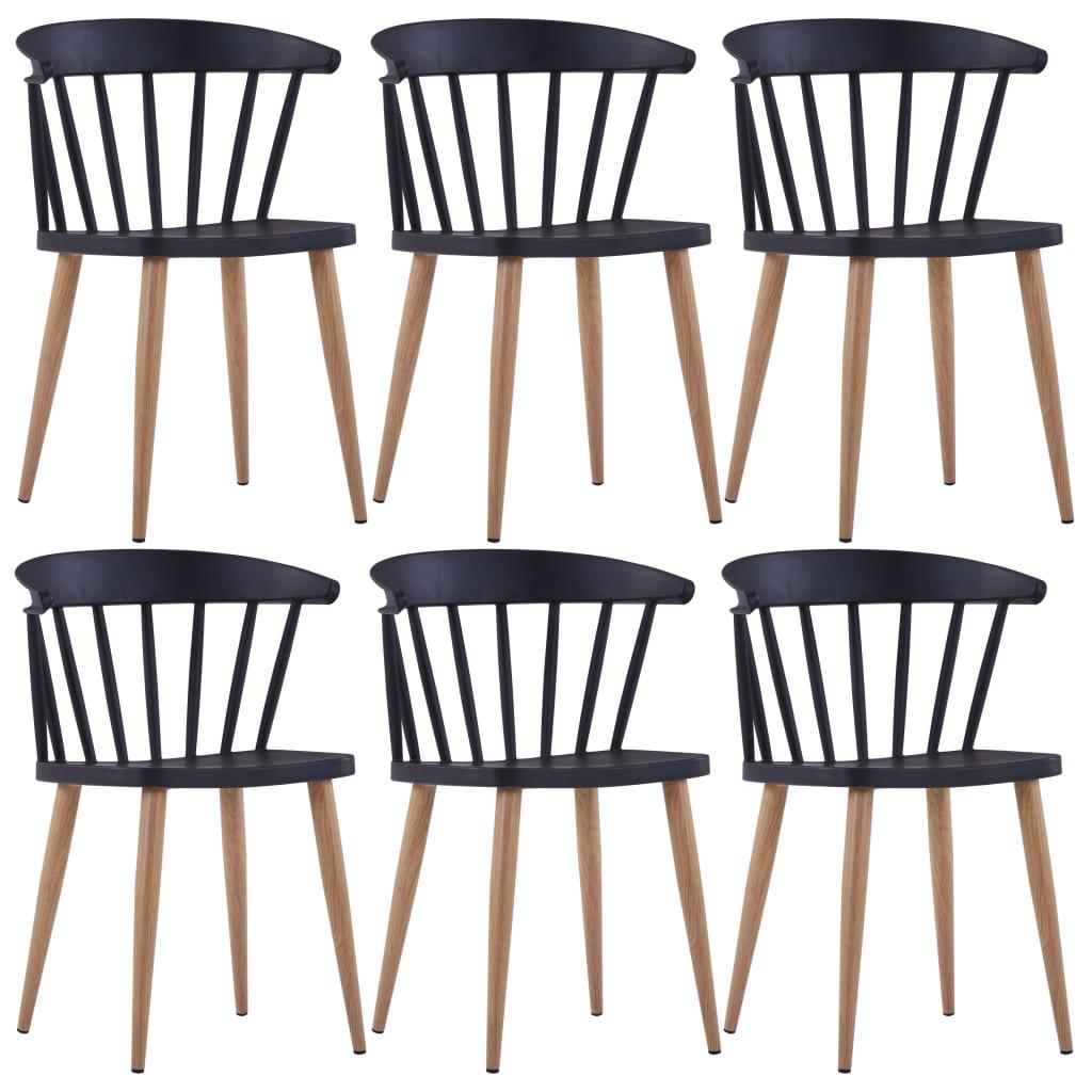vidaXL Καρέκλες Τραπεζαρίας 6 τεμ. Μαύρες Πλαστικές
