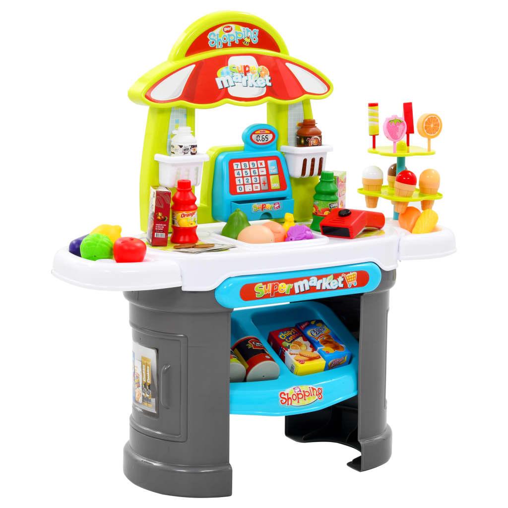 vidaXL Set de joacă cu magazin pentru copii, 51 piese, 68x25x67,5 cm poza 2021 vidaXL
