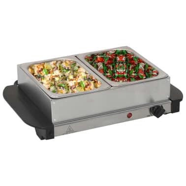 vidaXL Serveur buffet Acier inoxydable 200 W 2x1,5 L[1/5]