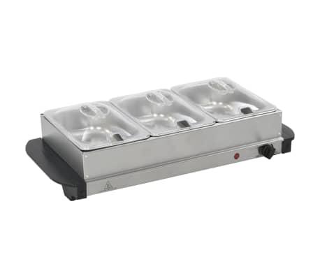 vidaXL Calientaplatos para bufé de acero inoxidable 200 W 3x1,5 L