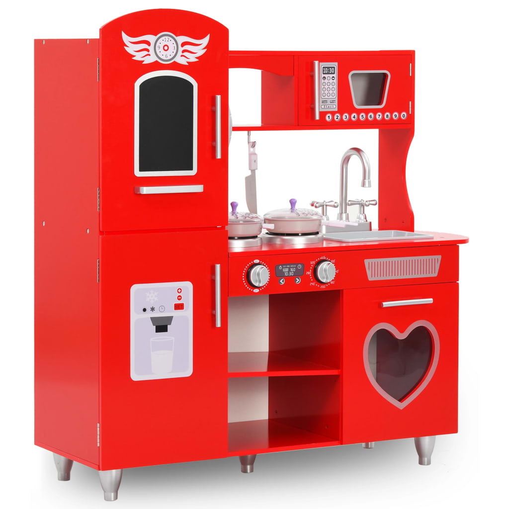 vidaXL Kids' Play Kitchen MDF 84x31x89 cm Red