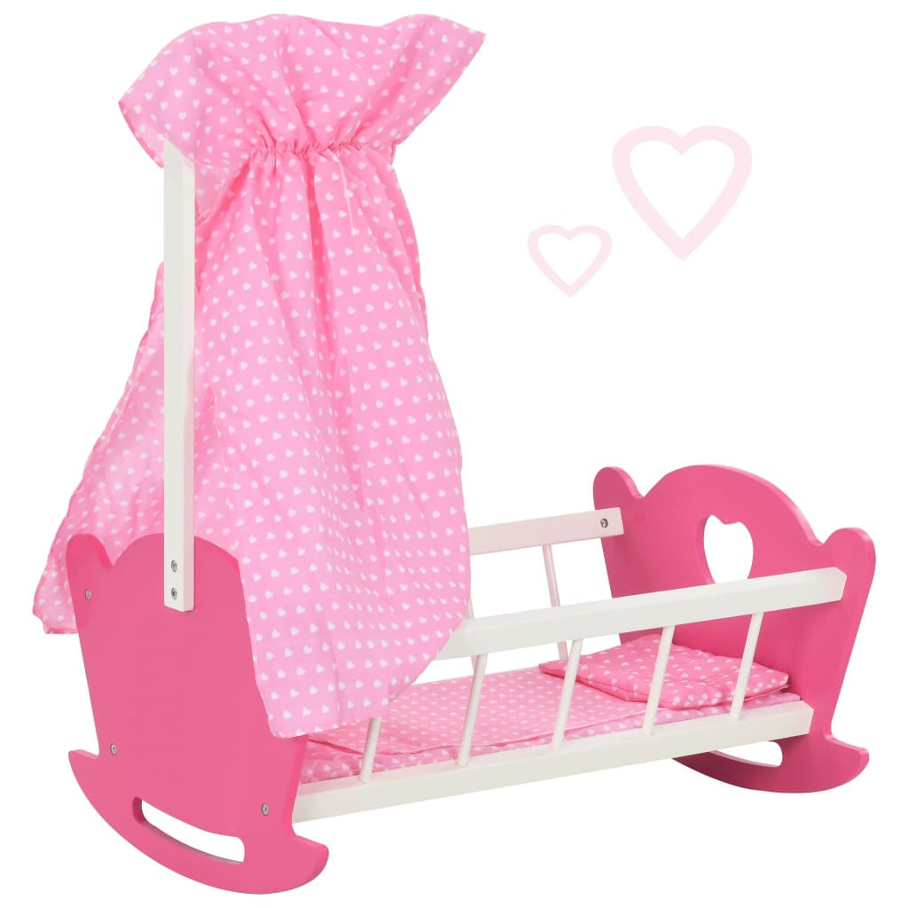 vidaXL Play Doll Bed with Canopy MDF 50x34x60 cm Pink