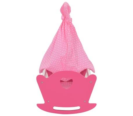 vidaXL Cama de juguete para muñecas con dosel de MDF rosa 50x34x60 cm[4/9]