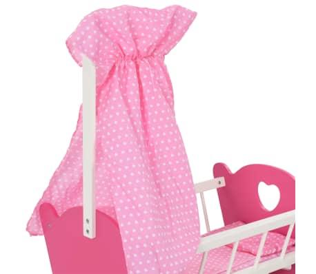 vidaXL Cama de juguete para muñecas con dosel de MDF rosa 50x34x60 cm[5/9]