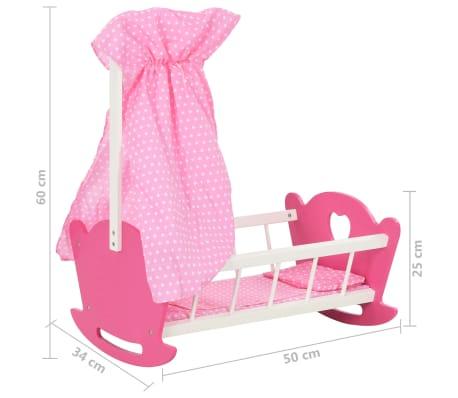 vidaXL Cama de juguete para muñecas con dosel de MDF rosa 50x34x60 cm[9/9]