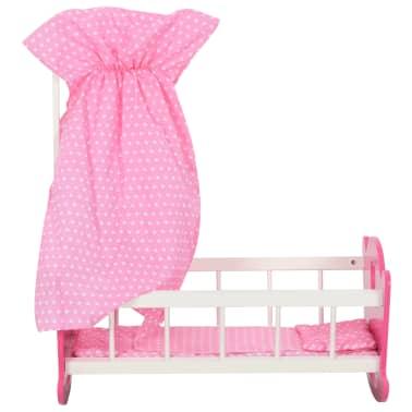 vidaXL Cama de juguete para muñecas con dosel de MDF rosa 50x34x60 cm[2/9]