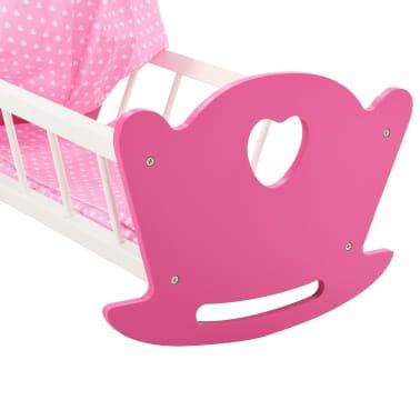 vidaXL Cama de juguete para muñecas con dosel de MDF rosa 50x34x60 cm[7/9]