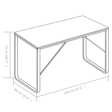 "vidaXL Computer Desk Black 47.2""x23.6""x28.7""[8/8]"