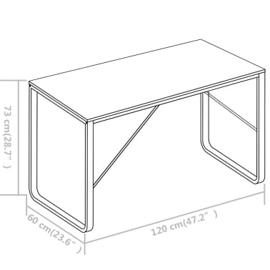 "vidaXL Computer Desk White 47.2""x23.6""x28.7""[8/8]"