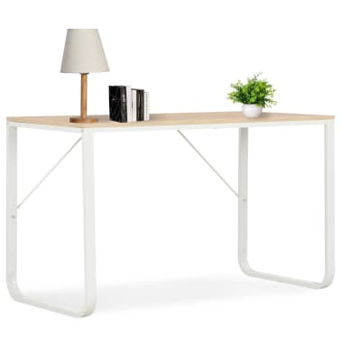 "vidaXL Computer Desk White and Oak 47.2""x23.6""x28.7""[1/8]"