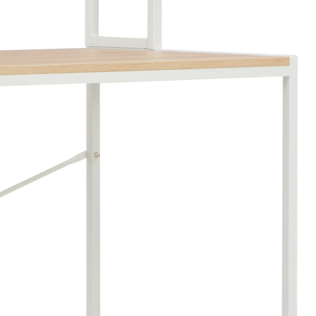 PC stůl bílý a dubový odstín 120 x 60 x 138 cm