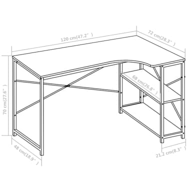 "vidaXL Computer Desk Black 47.2""x28.3x27.6""[8/8]"