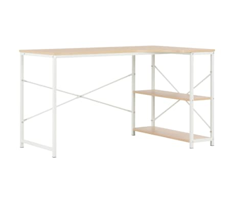 "vidaXL Computer Desk White and Oak 47.2""x28.3""x27.6"""