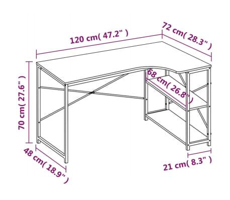 vidaXL Bureau d'ordinateur Blanc et chêne 120 x 72 x 70 cm[8/8]