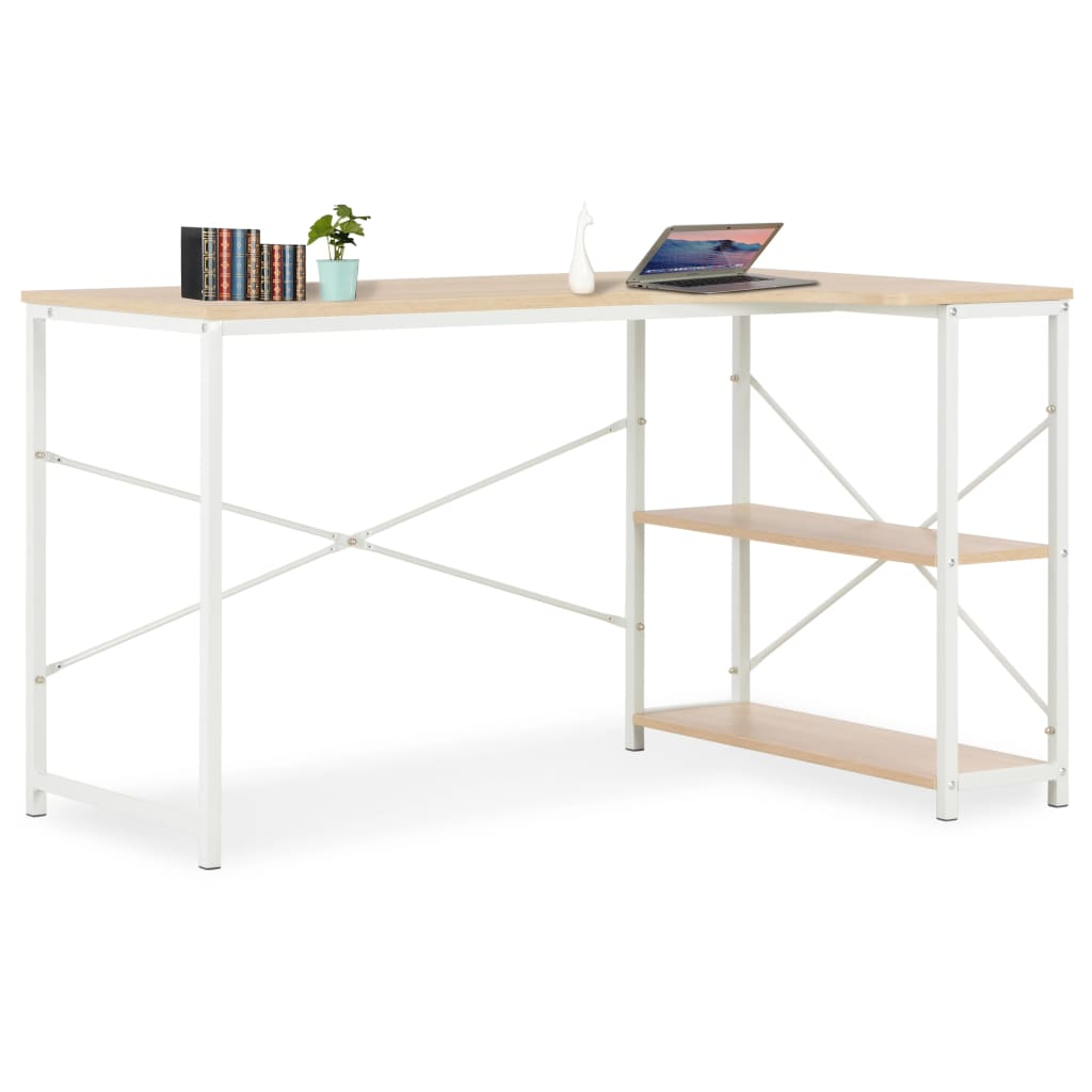 PC stůl bílý a dubový odstín 120 x 72 x 70 cm