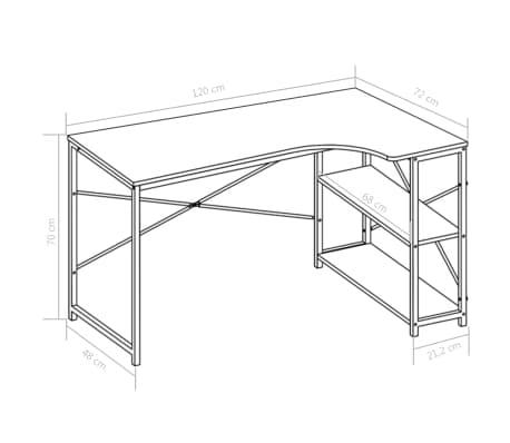"""vidaXL Computer Desk Black and Oak 47.2""""x28.3""""x27.6""""[8/8]"""