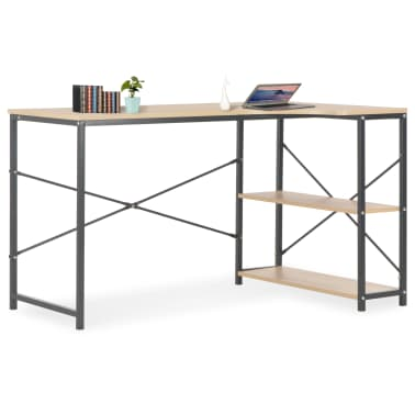 """vidaXL Computer Desk Black and Oak 47.2""""x28.3""""x27.6""""[1/8]"""