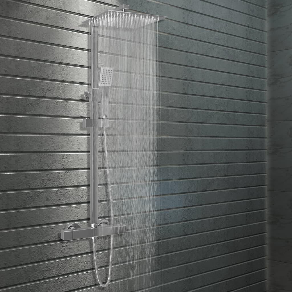 vidaXL Set de duș cu două capete, cu termostat, oțel inoxidabil vidaxl.ro