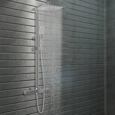 vidaXL Douchekoppenset dubbel met thermostaat roestvrij staal[1/8]