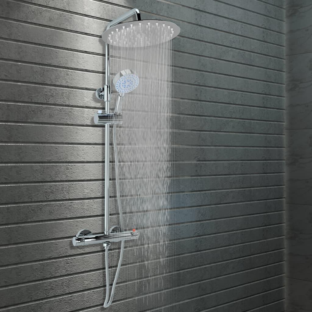 vidaXL Set de duș cu două capete, cu termostat, oțel inoxidabil poza vidaxl.ro