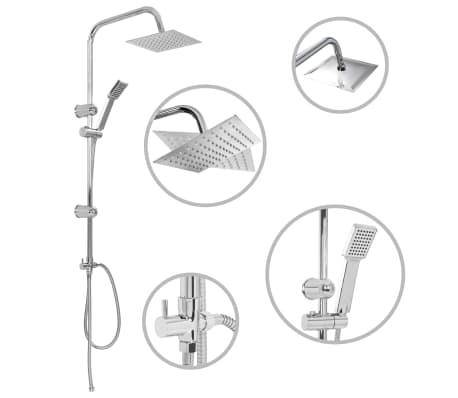 vidaXL Ensemble de douche à deux têtes avec douchette Acier inoxydable