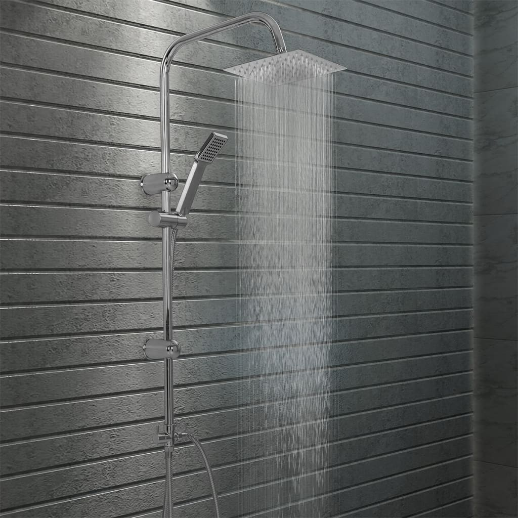vidaXL Set de duș cu două capete, cu duș de mână, oțel inoxidabil vidaxl.ro