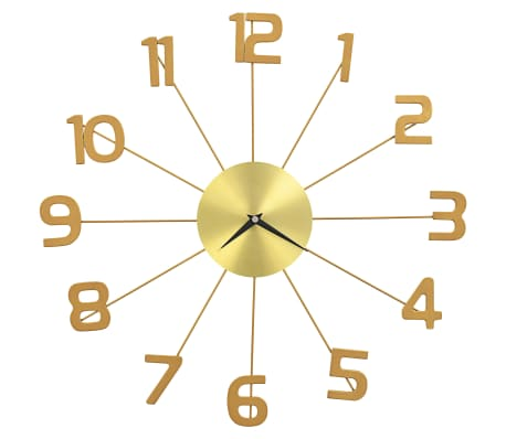 vidaXL Wall Clock Metal 50 cm Golden