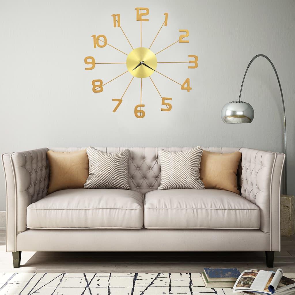 vidaXL Ceas de perete, auriu, 50 cm, metal vidaxl.ro