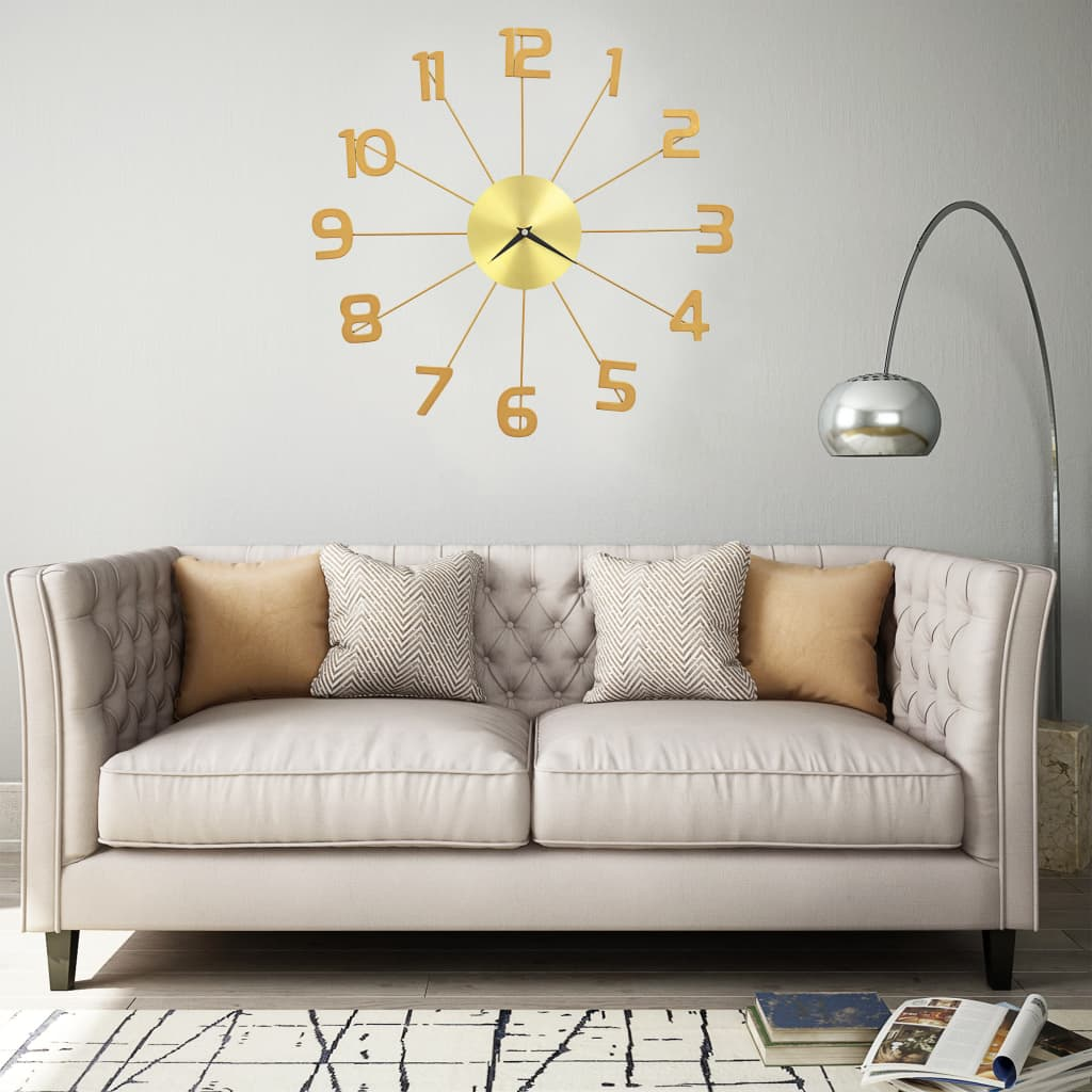 vidaXL Ceas de perete, auriu, 50 cm, metal poza 2021 vidaXL