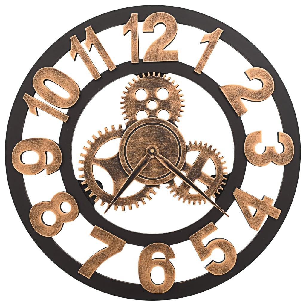 vidaXL-Horloge-Murale-Metal-58-cm-Dore-et-Noir-Salon-Salle-de-Sejour-Chambre miniature 2