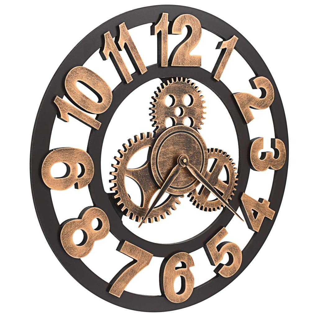 vidaXL-Horloge-Murale-Metal-58-cm-Dore-et-Noir-Salon-Salle-de-Sejour-Chambre miniature 3
