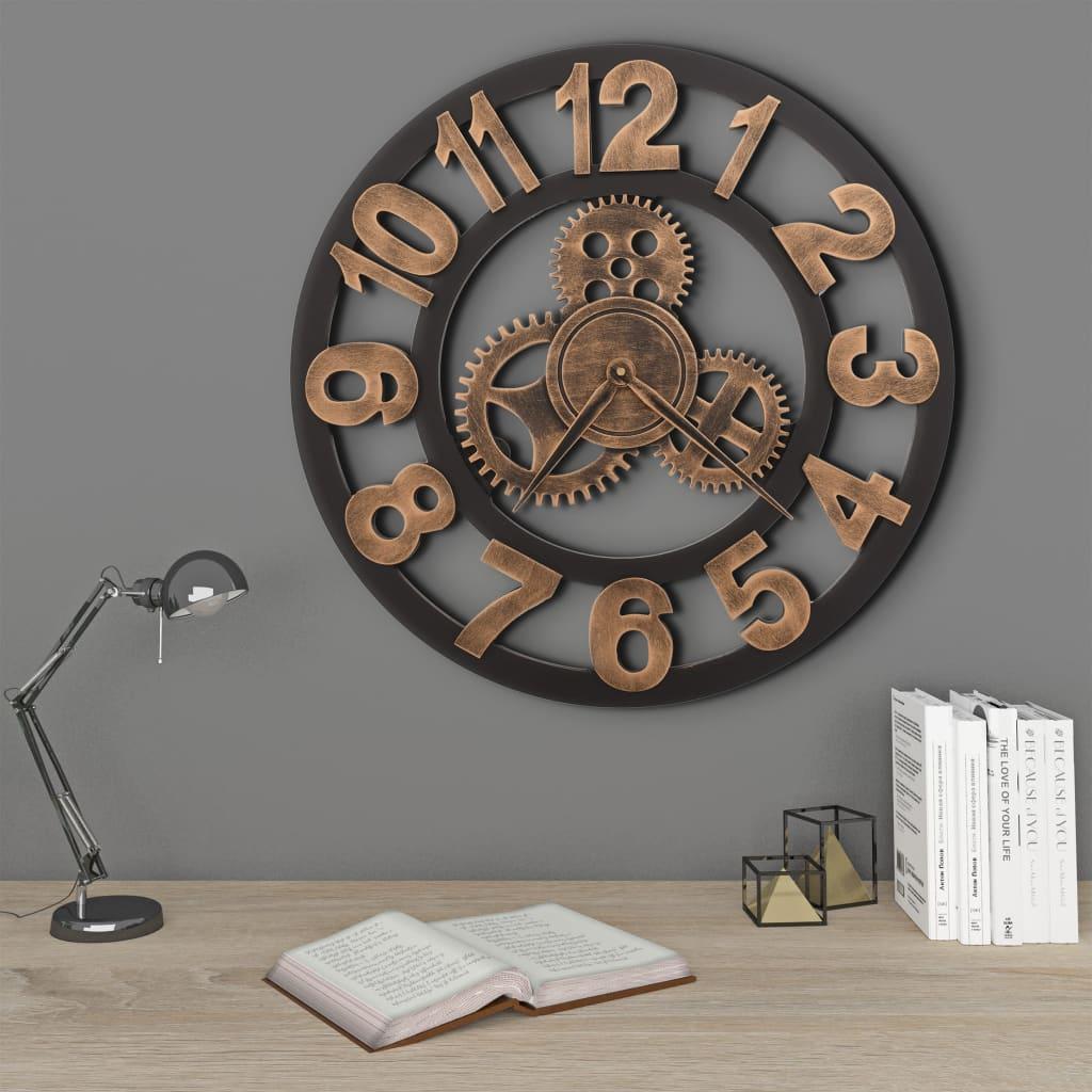 vidaXL Ceas de perete, auriu și negru, 58 cm, metal poza 2021 vidaXL