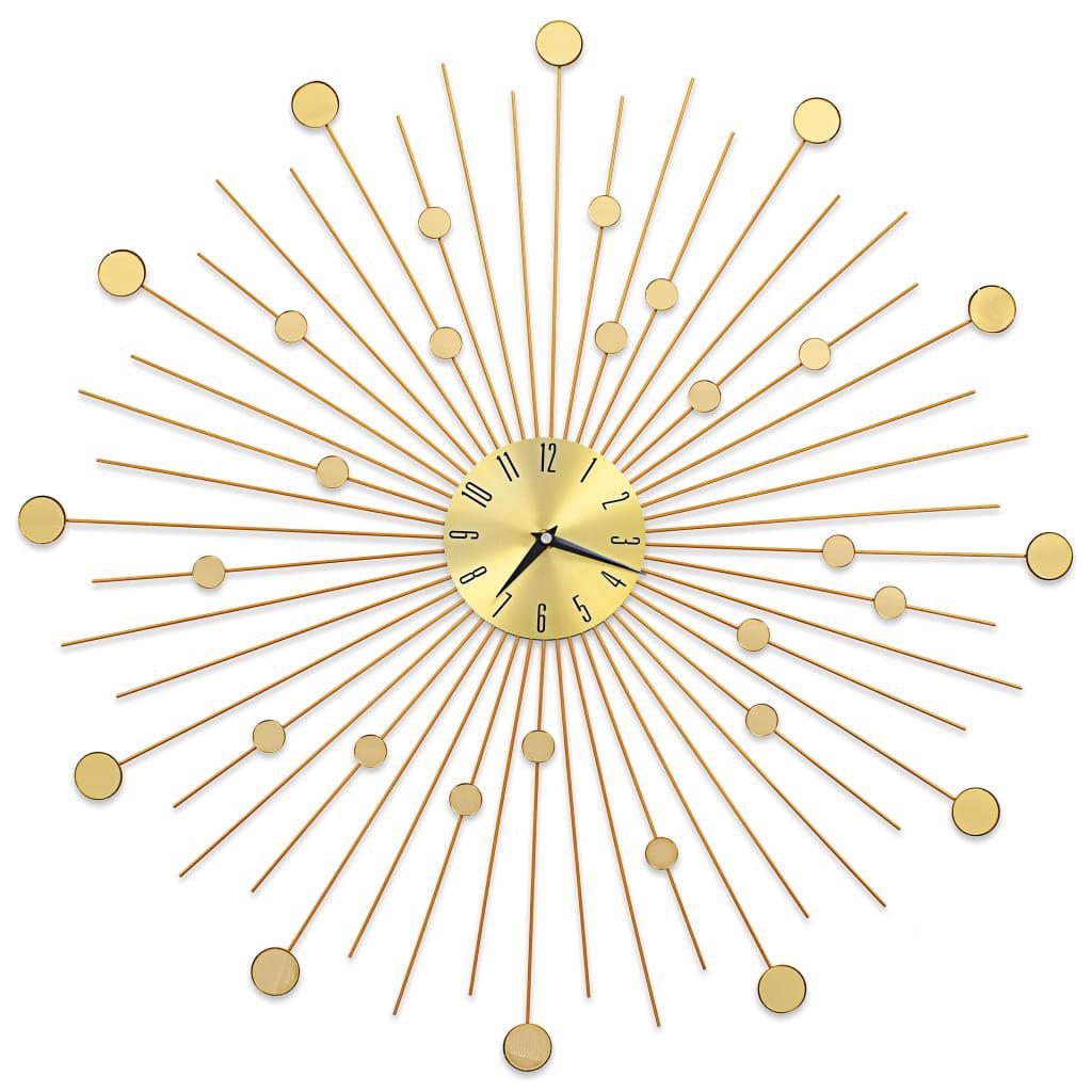 Wprowadź główny element do swojej przestrzeni dzięki naszemu fantastycznemu, metalowemu zegarowi ściennemu w złotym kolorze! Wyróżniający się błyszczącym wzorem słońca, ten zegar ścienny jest naprawdę wspaniałym elementem i będzie doskonałym dodatkiem do Twojego wnętrza.