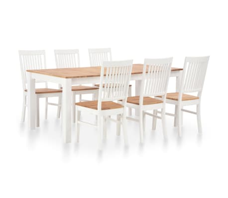 vidaXL 7 Piece Dining Set Solid Oak Wood