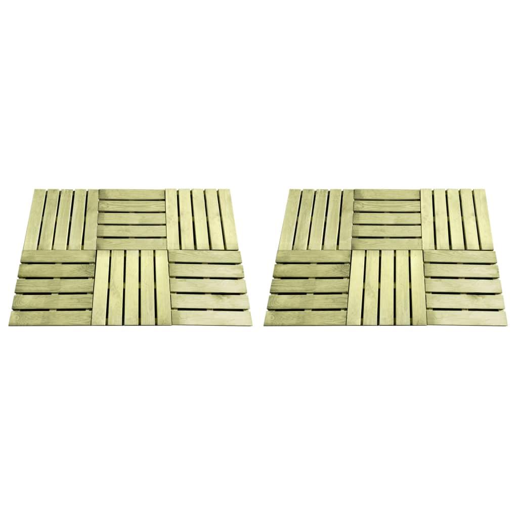 vidaXL Plăci de pardoseală, 12 buc., verde, 50 x 50 cm, lemn poza vidaxl.ro