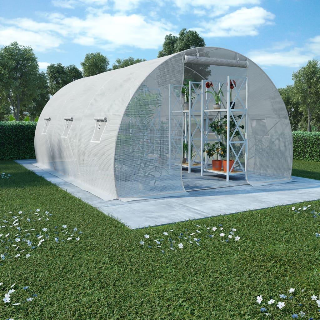 vidaXL Kas met stalen fundering 13,5 m² 450x300x200 cm