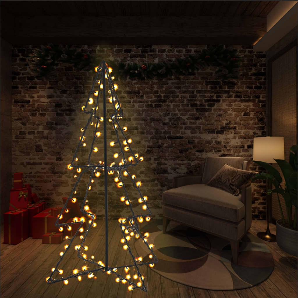vidaXL Brad Crăciun conic, 78x120 cm, 160 LED-uri, interior & exterior poza vidaxl.ro