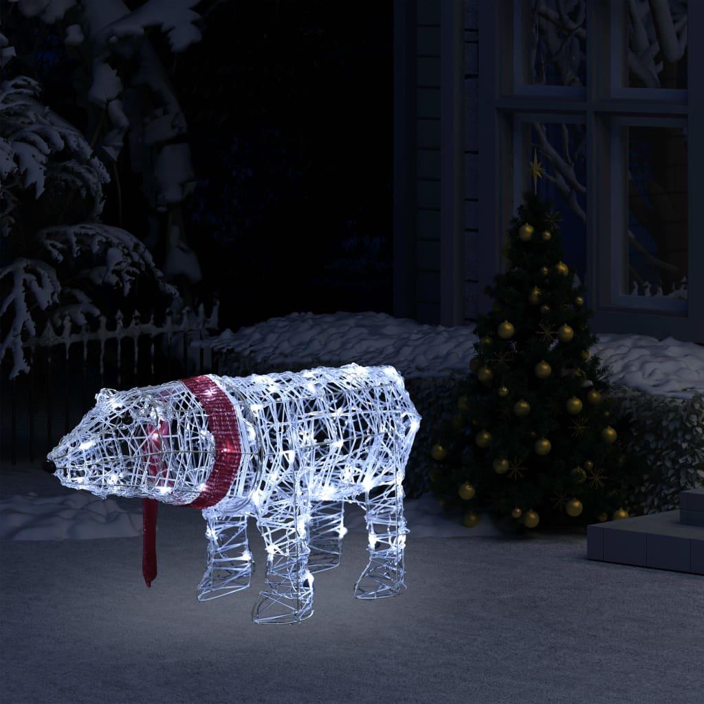 vidaXL Decorațiune de Crăciun urs, 45 leduri, 71 x 20 x 38 cm, acrilic imagine vidaxl.ro