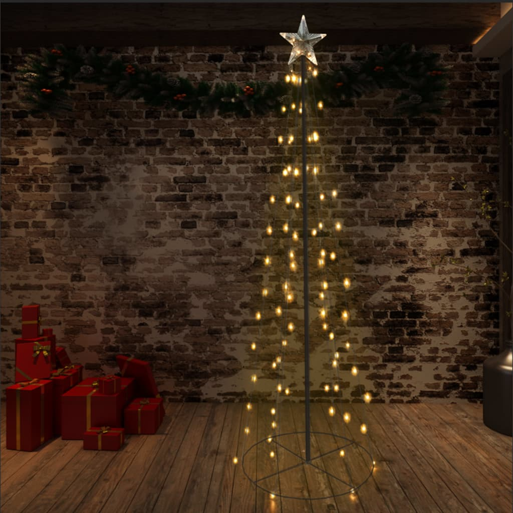 vidaXL Brad Crăciun conic, 72x240 cm, 140 LED-uri, interior & exterior imagine vidaxl.ro