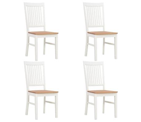 vidaXL Chaises de salle à manger 4 pcs Blanc Bois de chêne solide