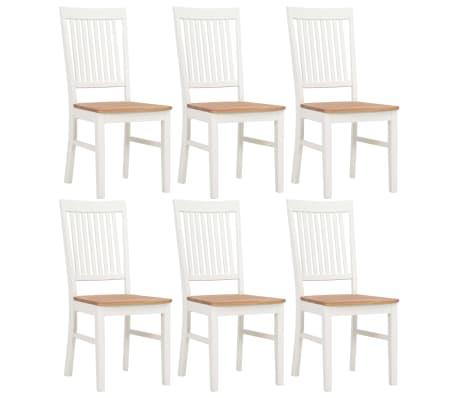 vidaXL Chaises de salle à manger 6 pcs Blanc Bois de chêne solide
