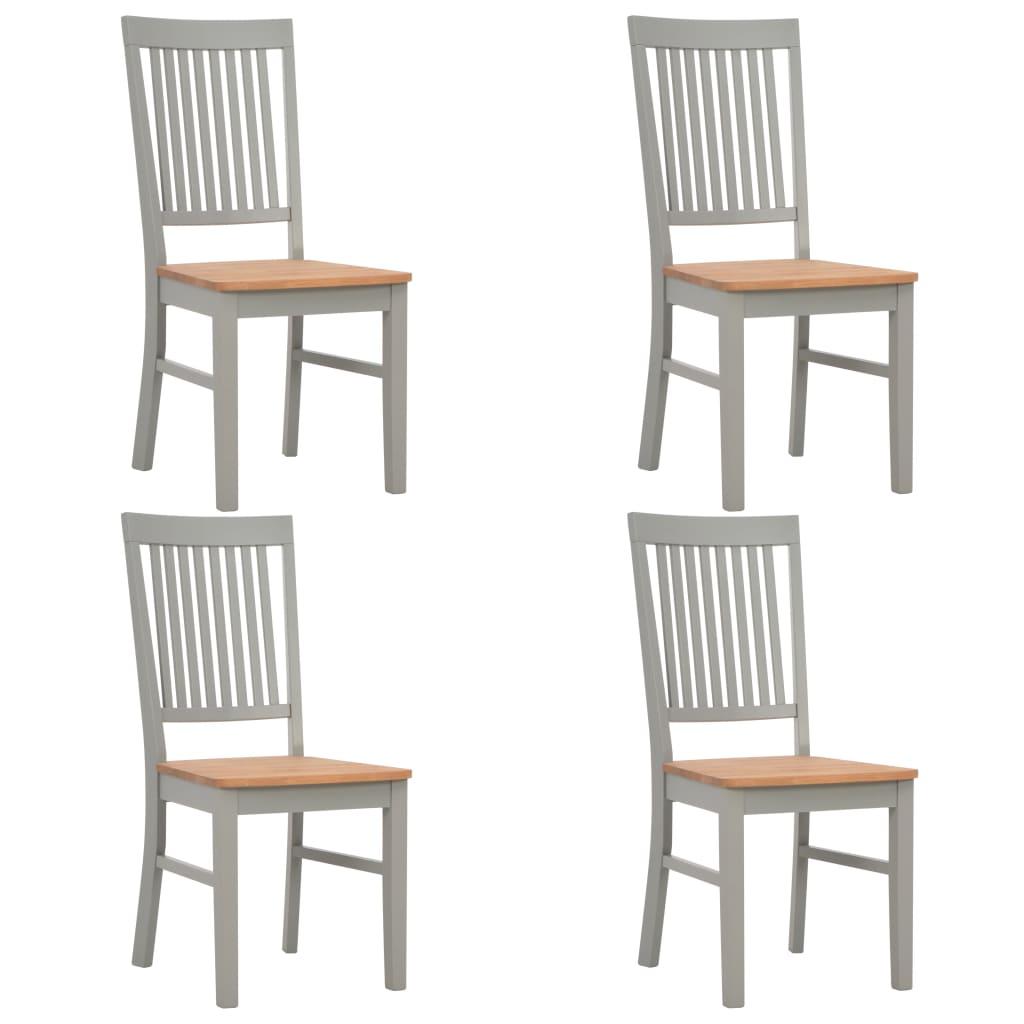 vidaXL Καρέκλες Τραπεζαρίας 4 τεμ. Γκρι από Μασίφ Ξύλο Δρυός