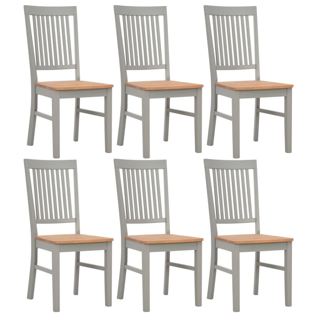 vidaXL Καρέκλες Τραπεζαρίας 6 τεμ. Γκρι 44x59x95 εκ. Μασίφ Ξύλο Δρυός