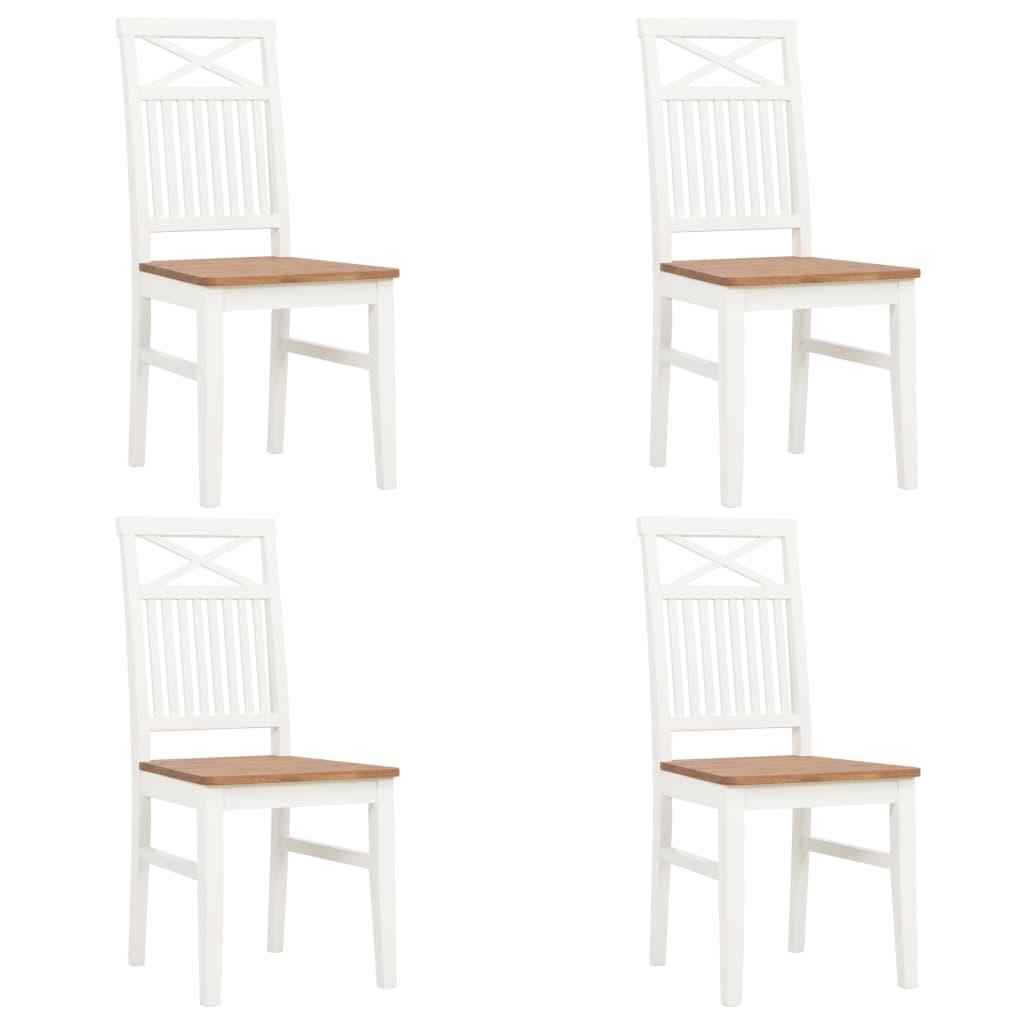 vidaXL Καρέκλες Τραπεζαρίας 4 τεμ. Λευκές από Μασίφ Ξύλο Δρυός